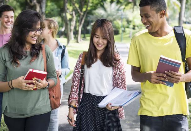 Teens walking and talking